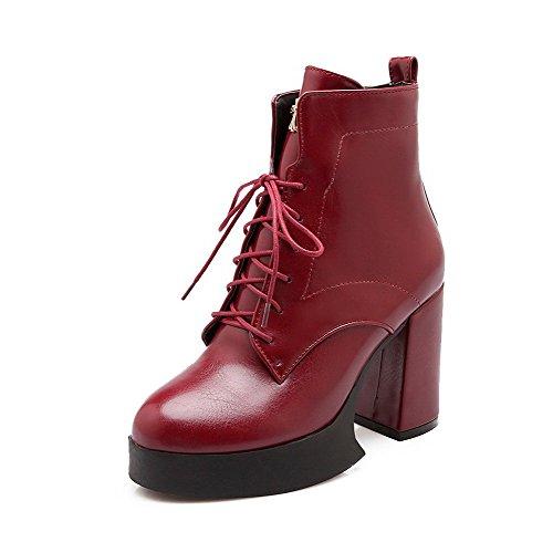 VogueZone009 Donna Bassa Altezza Puro Allacciare Stivali con Ornamento Di Metallo Chiaretto