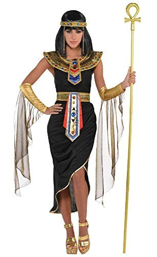 le Kleopatra ägyptisch Queen Göttin schwarz gold Karneval International aus aller Welt historisch Kostüm Kleid Outfit UK 8-20 Übergröße - Schwarz/Gold, UK 10-12 (Die Königin Des Nils Erwachsene Kostüme)