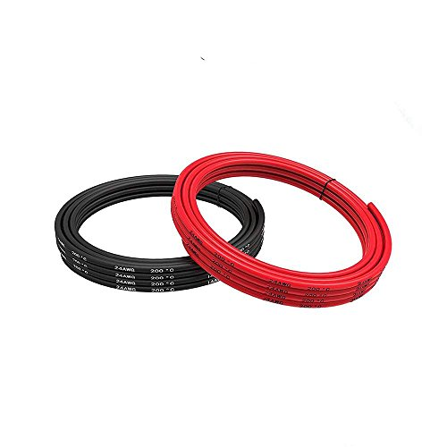 14 Gauge Silikon Draht 5 Meter (2,5 Meter Schwarz und 2,5 Meter Rot) Weich und Flexibel Niedrige Impedanz (24 Gauge) (24 Gauge Draht)
