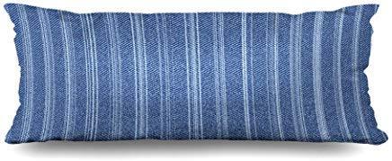 GFGKKGJFF0821 Jeans, Fischgrätenmuster, abstrakt, dezent gewaschen, blaues Denim-Muster, gestreift, Indigo-Material, gebürstet, kreativer Körperkissenbezug, 50,8 x 137,2 cm, Halloween Mädchen -
