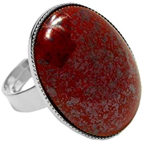 Plata 925 Chapado en Anillo Clásico Universal Ajustable Tamaño Oval 25mm x 18mm de Terracota de Coral Rojo de Cristal checo de Piedra hechos a Mano