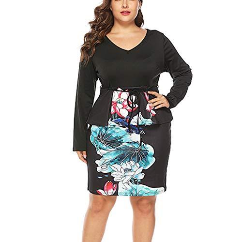 Malloom-Bekleidung Frauen V-Ansatz Plus Size Blumendruck Langarm Patchwork, Figurbetontes Partykleid Langärmliger Kleidertaschenrock Mit V-Ansatz Belted Cotton Leggings