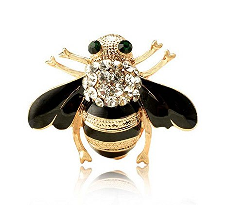 Creativo Pin de la broche del esmalte Personalidad Linda Insectos mini Abejas pequeñas Diamante Broche de animales negro y rojo Conjunto de 2 piezas