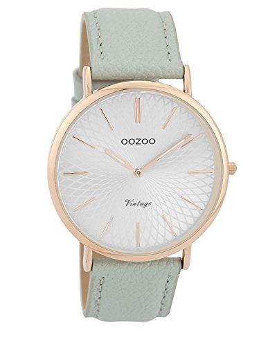 Oozoo Vintage Damenuhr Lederband 40 MM Rose/Silberfarben/Eisblau C9337
