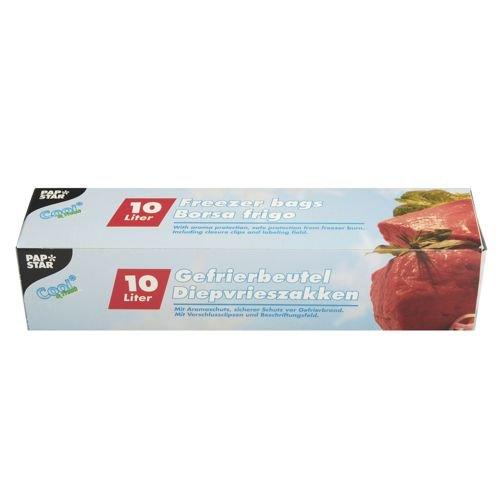 PAPSTAR 24 Gefrierbeutel, LLDPE 10 l 60 cm x 40 cm transparent in Faltschachtel, Sie erhalten 12 Packungen, Packungsinhalt: 24 Stück