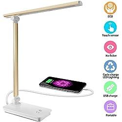 DAMIGRAM Lampe de Bureau LED, 5 Modes de Couleur & 3 Niveaux de Luminosité Ajustable Lampe de Chevet LED Lampe de Bureau Pliable et Rechargeable (Gold)