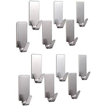 AmigozZ Multipurpose Small Rectangular Stainless Steel Adhesive Hooks - Load Capacity Upto 1 Kg - Set of 12