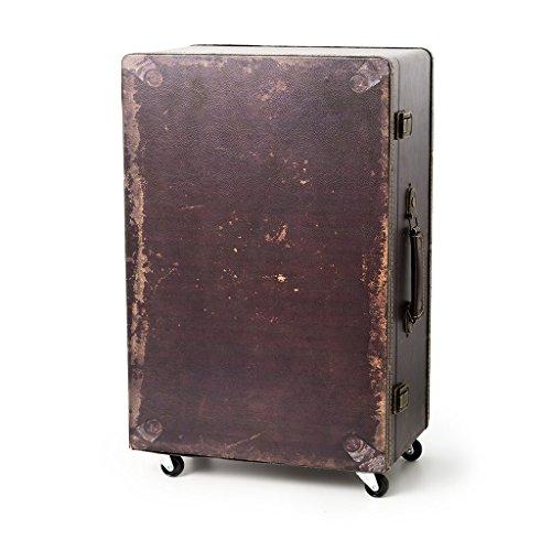 Mesita de noche con diseño de maleta con 3 cajones y ruedas