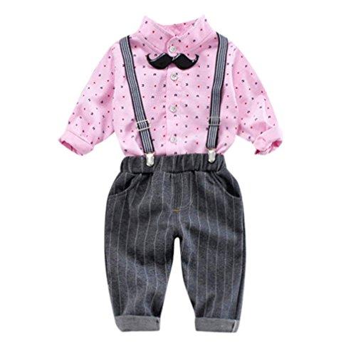 (Baby Kleidung Set Cloom Baby Langarmshirt Schön Fliege Bluse + Hosenträger Hosen Kleiner Anzug Baby Bekleidungssets Strampler Gentleman Bodysuit Festliche Taufe Hochzeit Anzug Jungen(Rosa,6))