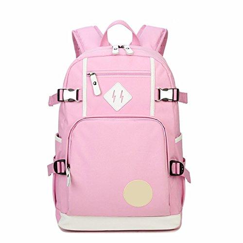 Rucksack Student Bag Freizeit Reise Rucksack Große Kapazität Oxford Tuch Pink