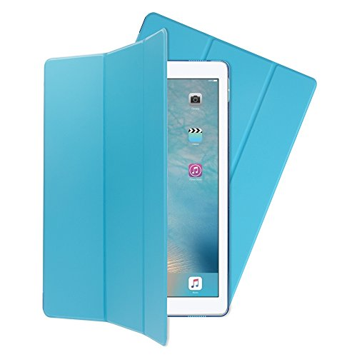 NALIA Smart-Case Hülle kompatibel mit iPad Pro 12,9 Zoll (2017), Ultra-Slim Dünne Tablet, Kunst-Leder Hardcase Multi-Ständer, Display-Schutz & Back-Cover Flip-Case Klapphülle, Farbe:Blau Blau Back Cover