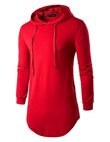 YCHENG Herren Hip Hop Langarmshirt mit Kapuze Lange Sweatshirts Hoodies Shirts Rot