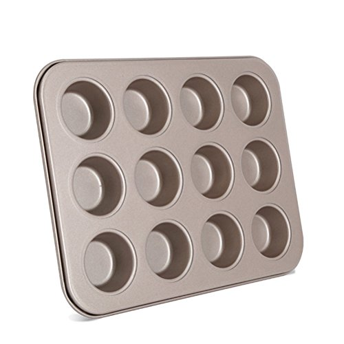 bestonzon Ei Tart Pfanne Antihaft-Cupcake Muffin Backförmchen Tablett gefüttert Form Dose (Golden) Muffin-top-dosen
