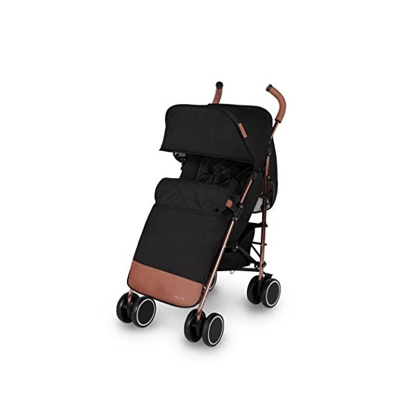 Ickle Bubba Baby Discovery Max Stroller| Lightweight Stroller Pushchair | Compact Fold Technology for Easy Transport and Storage | UPF 50+ Extendable Hood | Black/Rose Gold Ickle Bubba ONE-HANDED 3 POSITION SEAT RECLINE: Baby stroller suitable from 6 months to 22kg. 4 years old; features luxury soft quilted seat liner, footmuff, cupholder, and rain cover UPF 50+ RATED ADJUSTABLE HOOD: Includes a peekaboo window to keep an eye on the little one; extendable hood-UPF rated-to protect against the sun's harmful rays and inclement weather LIGHTWEIGHT DESIGN WITH COMPACT FOLD TECHNOLOGY: Easy to transport, aluminum frame is lightweight and portable-weighs only 7kg; folds compact for storage in small places; carry strap and leather shoulder pad included 1
