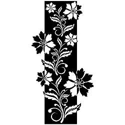 Wandtattoo-bilder® Wandtattoo Wandbanner Ornamente Nr 16 Wandaufkleber Blumensticker Banner Blumentattoos Farbe Silber, Größe 65x129