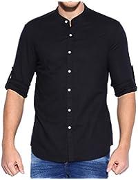 Lafantar Men's Casual Slim Fit Mandarin Shirt (Black)