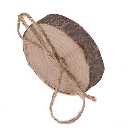 zentto Ring Kissen braun Holz Baum rund Creative Rustikal Hochzeit dekorativer Überwurf-Kissenbezug Baum Ring Rückenkissen Ring Organizer Ring Kissen grau (Ring Grau Hochzeit Kissen)