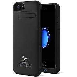 Coque Batterie iPhone 6 / 6s / 7, SAVFY Ultra Fin Coque avec Batterie Externe Rechargeable 3200mAh Li-polymère, Portable Externe Chargeur Batterie de Secours Supplémentaire, Smart Battery Case pour iPhone 6 / 6s / 7 [4,7 Pouces] Noir