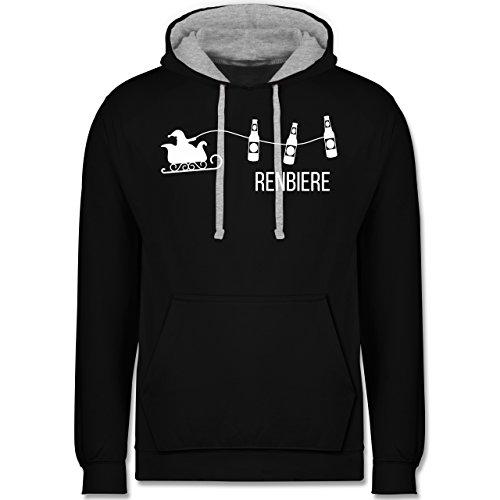 Typisch Männer - Renbiere - Kontrast Hoodie Schwarz/Grau Meliert