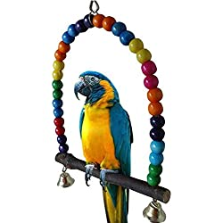SMARTrich Jaula de madera para pájaros, juguete para loro, paracaídas y gallinas