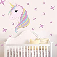 Bamsod Unicorn Wall Decal Kids Wall Sticker Girls Bedroom Nursery Wall Decor ...