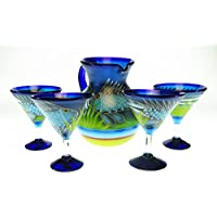 Mexican Glass Margarita Martini & Pitcher, Hand Painted with Fish