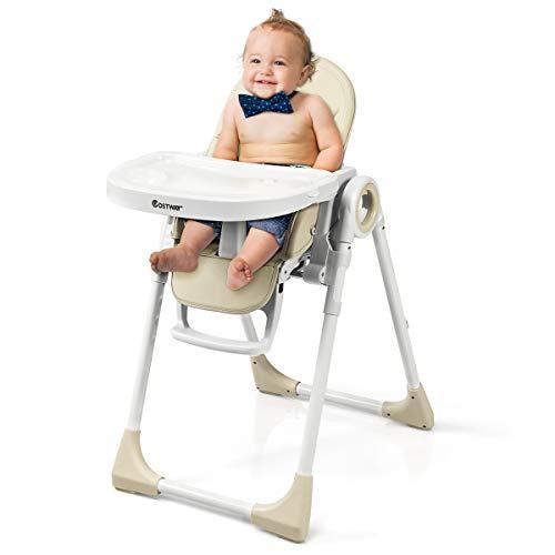 COSTWAY 2 in 1 Kinderhochstuhl höhen- und winkelverstellbar, Hochstuhl klappbar, Kinderstuhl mit Liegefunktion, Babystuhl multifunktional, Kombihochstuhl, Babyhochstuhl für Babys über 6 Monate (Beige)