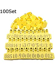 Plastic TPU Animals Cattle Goat Pig Sheep Use Ear-Number Tag Livestock Tags Labels (Yellow) -100 Sets