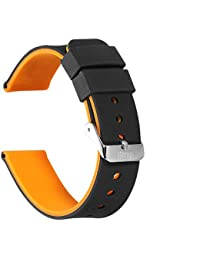 Watch Straps Silicone Watchbands(Double-Sided Availability+2 Buckles+4 Loops)iStrap Rubber Replacement for Men and Women Smartwatches 20mm,22mm