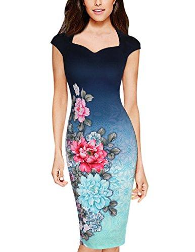 Damen Vintage Etuikleid Abendkleid Knielang Elegant Festliche Kleider Blumendrucken Kurzarm Kleid Ballkleid Partykleid Als Bild