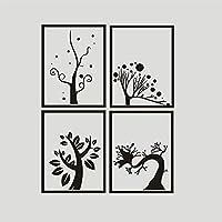 aooyaoo quattro diversi alberi schema adesivi vinile muro decalcomania camera salotto decorazione bar decorazione 40*30cm 4pcs - Grazie Foto Di Compleanno Si Carte