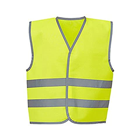 YOKO Hi-vis Reflective Border Kids Waistcoat (HVW102CH) Reflective Border 100% Polyester Fabric with Velcro Fastening (Small,
