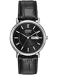 6b888224b60 Citizen Men s Eco-Drive Watch with Black Dail Analogue Display and Black  Leather Strap BM8240