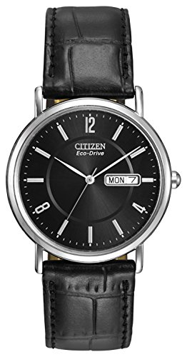 Citizen-Mens-Eco-Drive-Watch-with-Black-Dail-Analogue-Display-and-Black-Leather-Strap-BM8240-03E