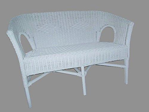 Bank (Sessel) weiß Rattanbank