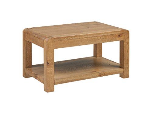 The One Caprice Table Basse en chêne Massif – Table Basse en chêne Massif – Finition : sous étagère Rustique en chêne – Meuble de Salon