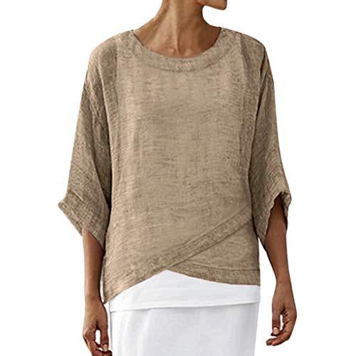 Jersey Drei-viertel-hosen (Watopi Frauen Leinen Kurzarm T-Shirt beiläufiges festes rundes Ansatz DREI Viertel Hülsen lose Oberseiten Blusen Hemd)
