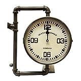 L'Héritier Du Temps Horloge de Gare sur Crédence Pendule Murale Double Face Motif Plomberie Tubes en Fer Noir 11x33x36cm