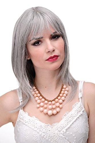 WIG ME UP - Schulterlange Damen Perücke Grau Grau glatte Haare mit Pony ca. 50 cm (Günstige Perücken Mit Pony)
