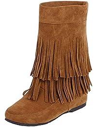 YE Damen Ankle Boots Flache Stiefeletten Stiefel mit Fransen Schlupfstiefel  Einfach Freizeit Winter Schuhe a926f223bc