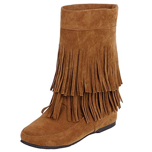 YE Damen Ankle Boots Flache Stiefeletten Stiefel mit Fransen Schlupfstiefel Einfach Freizeit Winter Schuhe(Braun,41)