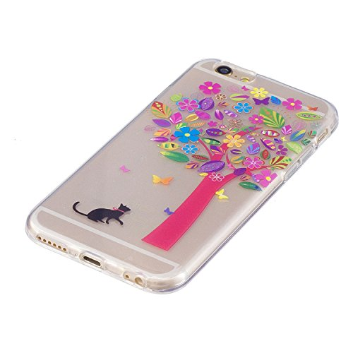 Coque iphone 6/6s, Coque iphone 6/6s Transparente, Cozy Hut Housse Etui TPU Silicone Clear Clair Transparente Gel Slim Case pour iphone 6/6s Soft de Protection Cas Bumper Cover Converture Anti Poussiè Arbres et chats colorés