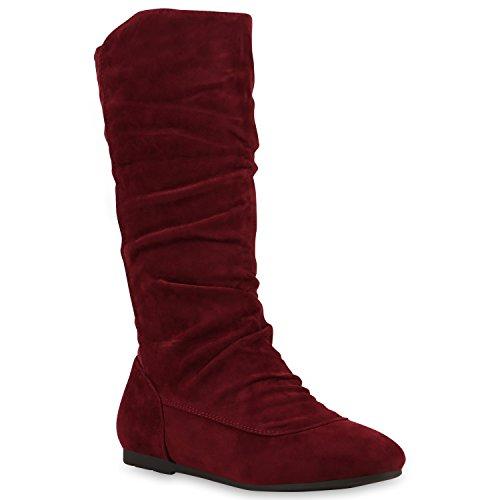 Damen Schlupfstiefel Veloursleder Optik Stiefel Komfort Schuhe Rot