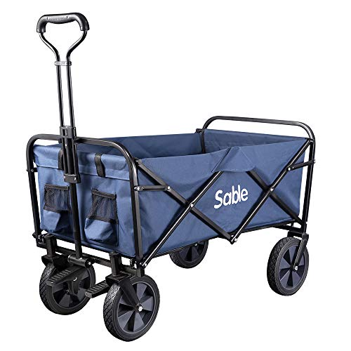 c7e68e6a0cf1 Sable Garden Cart Folding Wagon Foldable Heavy Duty Outdoor Trolley Utility  Transport Cart 100kg Max Load, for Outdoor/Festivals/Camping, Blue