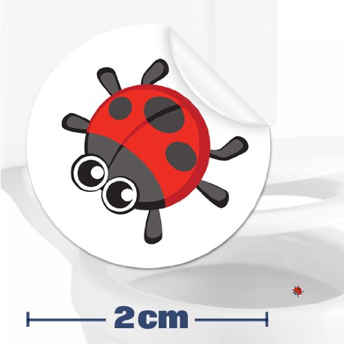 Toilettenhilfe für Kinder Säuglinge Jungs Lustige Badezimmer Bad Töpfchen Pinkelhilfe 10 x Marienkäfer Zielhilfe Aufkleber (2 cm)