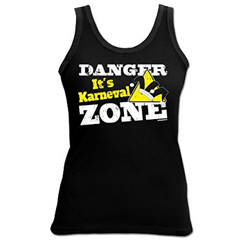 TankTop T-Shirt ::: Danger It´s Karneval ZONE ::: Schwarz Schwarz