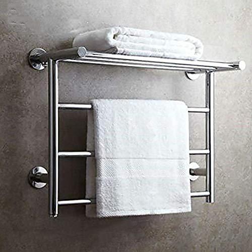 BILLY'S HOME 304 Edelstahl-Handtuchwärmer, Wandmontierter elektrischer Handtuchwärmer mit Ablageboden, verchromter elektrischer Handtuchständer für Badezimmer,Hardwiring -