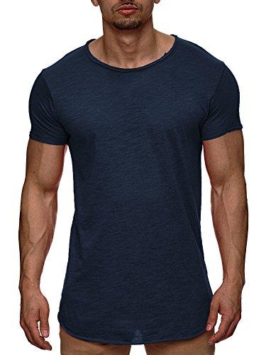Indicode Herren Willbur Herren T-Shirt Oversize Slim Fit Poloshirt Hemd V-Neck Tanktop Kurzarm Navy L (Navy T-shirt Tragen)