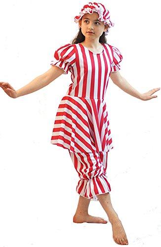 stage-dance-solo-sea side-world BUCH day-edwardian-victorian gestreift Baden Belle & Kappe erhältlich in 2 Farben - Damen 10-14 - Rot & Weiß Streifen, Ladies: 10
