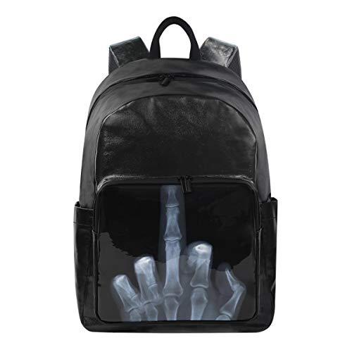 Studenten-Rucksäcke für Schule, Buchtasche, Reisen, Wandern, Camping, Tagesrucksack für Jungen und Mädchen, 31,8 x 22,9 x 44,5 cm, hält 31,8 cm Laptop (X-Ray vertikaler Mittelfinger Knochen) -